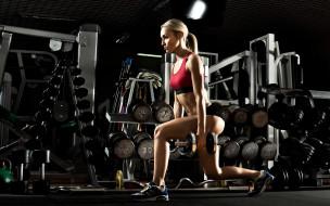 спорт, фитнес, девушка, взгляд, фон