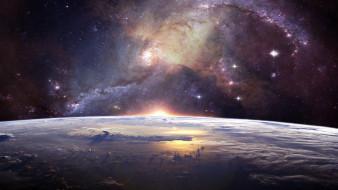 космос, арт, галактика, земля, планета