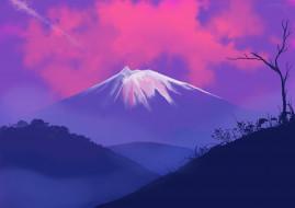 векторная графика, природа , nature, облака, гора