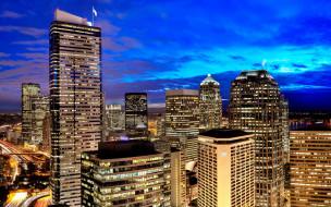 города, сиэтл , сша, небоскребы