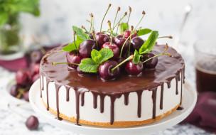 еда, торты, шоколад, вишни, торт