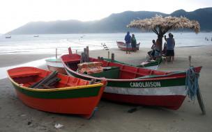 берег, лодки, залив