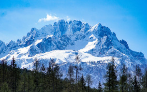 снег, горы, вершины