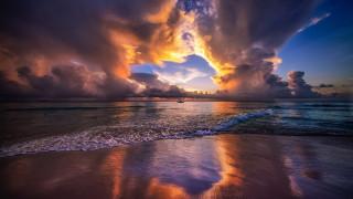 море, закат, облака