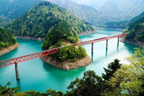 горы, мост, озеро