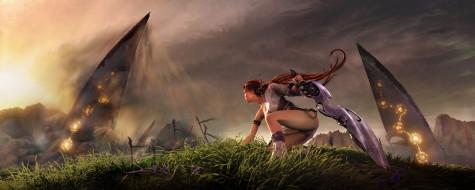Нарико, трава, меч, девушка