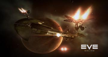 корабли, бой, планета, космос