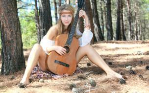 взгляд, девушка, гитара, фон