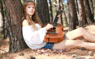 фон, гитара, взгляд, девушка