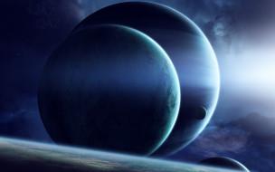 космос, арт, планеты, звезды, вселенная, галактика