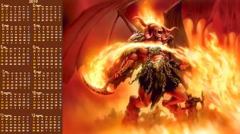 2019, крылья, демон, существо, calendar, воин, рога