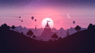 векторная графика, город , city, temple, sunset, landscape, stars, games, purple