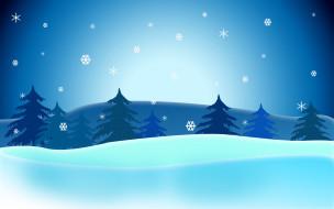 векторная графика, природа , nature, ели, снег