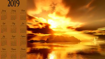 водоем, закат, гора, calendar, 2019, природа
