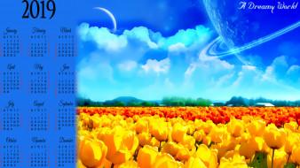 2019, calendar, желтый, облако, цветы, тюльпан, планета