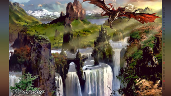 calendar, 2019, растение, гора, крылья, полет, природа, водопад, дракон