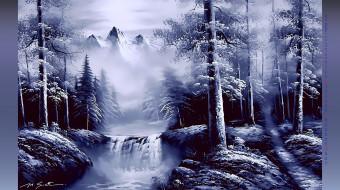 снег, гора, водопад, лес, скала, вершина, природа, дерево, 2019, calendar