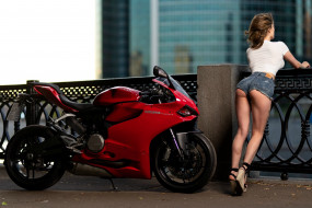 мотоциклы, мото с девушкой, ducati