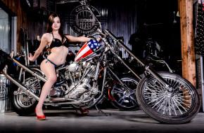 мотоциклы, мото с девушкой, american, chopper