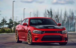 красный, американские автомобили, тюнинг, vossen wheels, dodge charger super scat pack