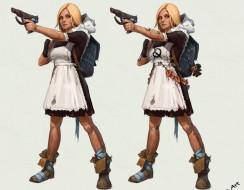 оружие, форма, школьница, портфель, девушка
