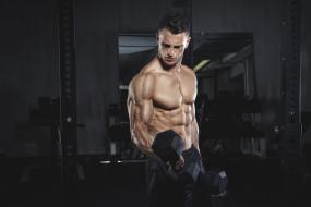 спорт, body building, мужчина, взгляд, фон