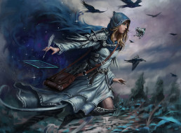фэнтези, маги,  волшебники, фон, полет, платье, перо, птица, девушка