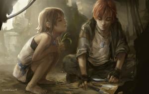 перчатки, ножи, руины, мальчик, девочка, дети