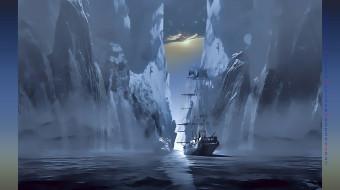 ледник, 2019, calendar, водоем, парусник, корабль