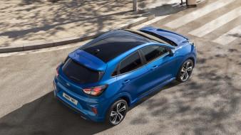 2020 ford puma, вид сверху, синий, форд