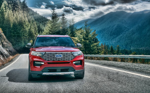 форд, американский внедорожник, исследователь, красный, внешность, вид спереди, ford explorer, 2020