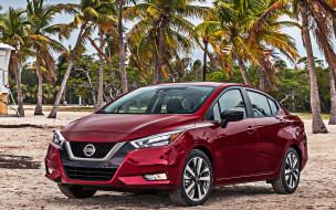 новинка, седан, японские автомобили, вид спереди, внешность, красный, versa, компактный, nissan versa, 2020