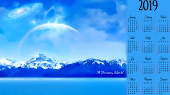 скала, природа, снег, гора, водоем, планета, 2019, calendar