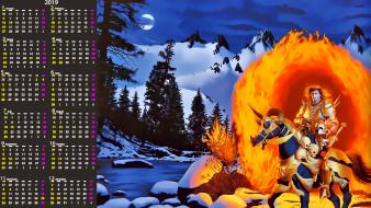 лошадь, пламя, мужчина, снег, дерево, природа, calendar, гора, всадник, череп, конь, 2019