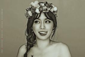 2019, женщина, calendar, цветы, девушка, венок, лицо