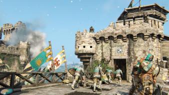 крепость, замок, флаги, солдаты