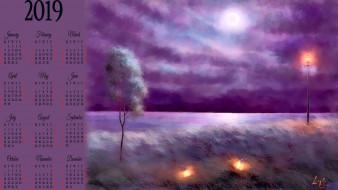 calendar, 2019, природа, дерево, фонарь
