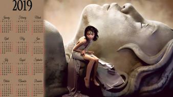 2019, статуя, девушка, камень, calendar, женщина, скульптура