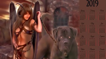 существо, цепь, дьявол, животное, рога, calendar, 2019, собака, девушка
