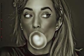 девушка, лицо, пузырь, 2019, calendar, женщина