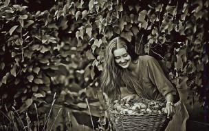 урожай, 2019, улыбка, девушка, корзина, calendar, женщина, дерево, овощи