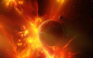 космос, арт, звезды, галактика, вселенная, планета