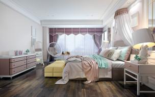 кровать, комод, зеркало