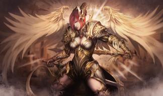 фэнтези, ангелы, крылья, латы, девушка, фон, меч