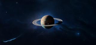 обои для рабочего стола 3800x1800 космос, сатурн, звезды, галактика, вселенная, планета