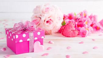 праздничные, подарки и коробочки, бант, подарок, сердечки