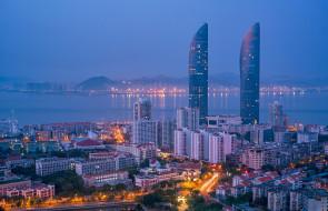 вечер, Китай, Сямынь, Xiamen, небоскрёбы
