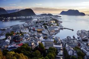 города, олесунн , норвегия, панорама