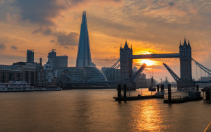 река темза, англия, небоскребы, закат, вечер, the shard, тауэрский мост, лондон