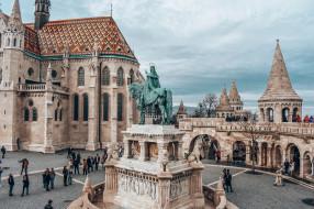 крепость, памятник, площадь, город, Венгрия, Будапешт